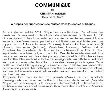 Communiqué classes 01-02-12