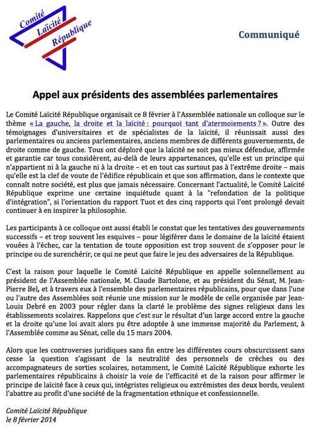 Appel aux présidents des assemblées parlementaires 8-02-2104