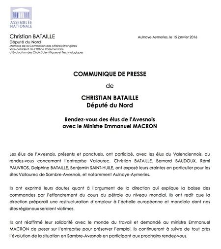 Communiqué Vallourec15-01